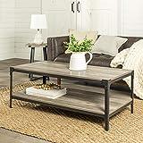 Walker Edison Furniture Company Rustic Farmhouse Rectangle Wood and Metal Frame Coffee Acc...