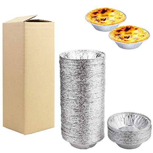 BILLIOTEAM 100PCS Mini Aluminum Foil Tart Pan Egg Tart Pan Safe Disposable Aluminum Round Egg Tart Tin Foil Pans for Baking Supplies, Easily Stack & Store, Freeze & Reheat,3Inch Egg Tart Pan