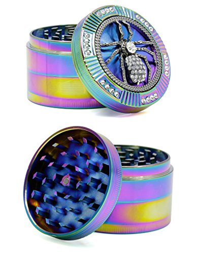 Bliss Brands 4 Layers Zinc Alloy Herb Grinder Iceblue Rainbow Bling Design (spider)