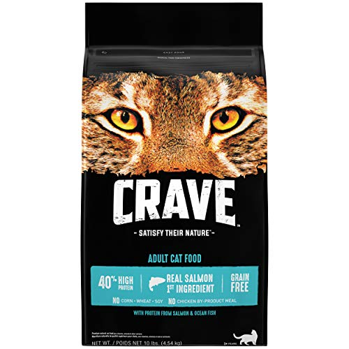 CRAVE Grain Free Adult High Protein Natural Dry Cat Food with Protein from Salmon & Ocean Fish, 10 lb. Bag