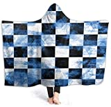 Coperta con cappuccio per interni ed esterni, Scacchi della Grange Blu super morbida, coperta con cappuccio, ideale per bambini e adulti, Halloween 50x40 inch
