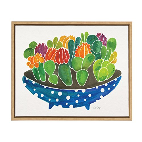 Kate and Laurel Sylvie Colorful Cactus in a Blue Bowl Watercolor Horizontal Framed Canvas Wall Art by Cat Coquillette, 18x24 Natural
