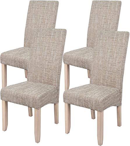 Pack 4 sillas para Comedor o Salon tapizadas en Color Arena y Estructura de Pino