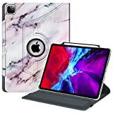 Fintie Rotating Case for iPad Pro 12.9 4th Generation 2020 & 3rd Gen 2018-360 Degree Rotating Smart Stand Cover w/Pencil Holder, Auto Sleep/Wake, Supports 2nd Gen Pencil Charging, Marble Pink