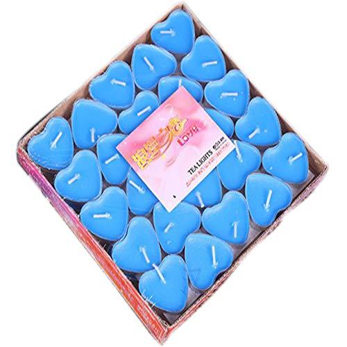 JUNSHUO 50 Senza Fumo Candele a Forma di Cuore, 50 Pezzi Set Romantico Amore Candela Bulk per Matrimonio, Compleanno, Festa, Natale. (Blu)