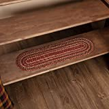 VHC Brands 45590 Burgundy Red Primitive Country Flooring Cider Mill Jute Stair Tread with Latex