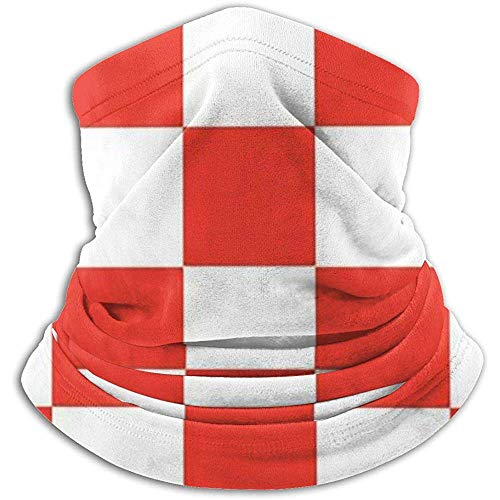 Calentador de Cuello Headwear Stretchy White Red Chessboard Proof Heat Trapping Scarf...