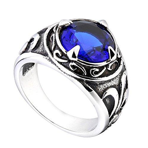 PMTIER Acero Inoxidable Vendimia Patrón de Flores Redondas Piedra Preciosa Anillo para los Hombres Azul Tamaño 25
