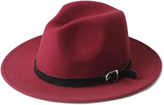 2019 Mens Womens Hats Womens Winter Wool Fedora Hat for Women Lady with Black Leather Belt Wide Brim Jazz Hat Panama Fascinator Hat Size 56-58CM Soft (Color : Wine red, Size : 56-58)