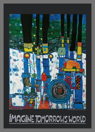 Germanposters Hundertwasser Imagine Tomorrow's World - Blue Blues Poster Kunstdruck Bild im Alu Rahmen in Champagne 84,1x59,4cm