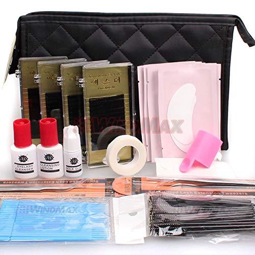 Professional Lash Starter Kit Pro Semi Permanent Individual Eyelash Extensions C Curl Eyelahes Lashes Graft Glue Tweezers Cleansing Lotion (A)