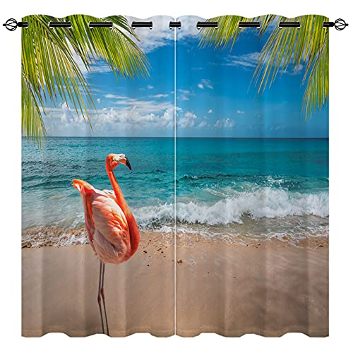 """EiiChuang Beach Curtains Blackout, Pink Flamingo Palm Leaves Beach Landscape Summer Tropical Scene Print Insulated Curtains, Room Darkening Grommet Curtains Bedroom Living Room, 2 Panel, 42"""" x 84"""""""