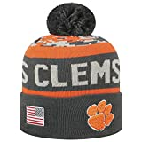 Top of the World NCAA-Salute to USA Military-Cuffed Knit Pom Beanie Hat-Clemson Tigers