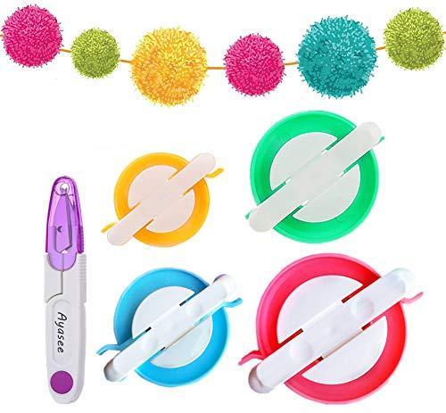 Ayasee Pompon Maker, 4 Formati di Pom Pom Makers per Fluff Ball Weaver Needle Craft Fai da Te Lana Knitting Craft Tool Set Decorazione + 1PS Forbici