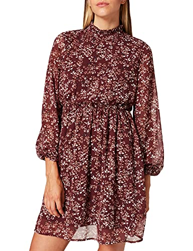 VERO MODA Damen Vmvilde L/S Short Dress Exp Ga Kleid, Port Royale/Flower, XS