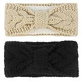 Muryobao Women Winter Warm Headband Fuzzy Fleece Lined Thick Cable Knit Ear Warmer Stretchy Crocheted HeadWrap Black & Beige