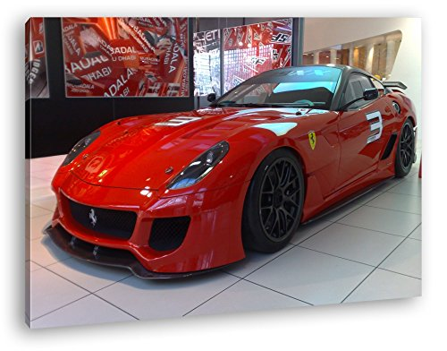 deyoli Roter Ferrari in Einer Ausstellung Format: 80x60 als Leinwandbild, Motiv fertig gerahmt auf Echtholzrahmen, Hochwertiger Digitaldruck mit Rahmen, Kein Poster oder Plakat
