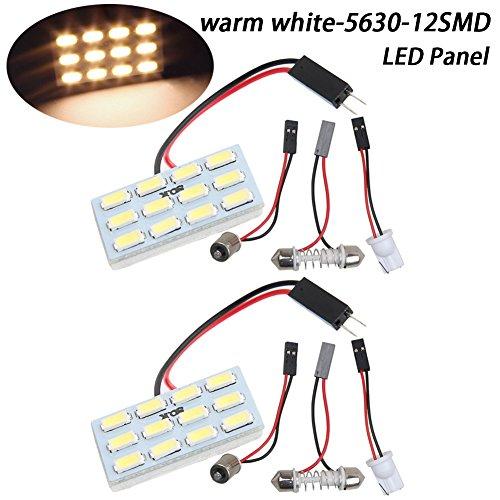 TABEN 5630 12-SMD - Panel de luz LED de bajo consumo para interior de coche, luz de techo interior, lámpara con cable y adaptadores T10 BA9S Festoon DC 12V (paquete de 2)