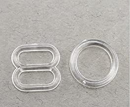 100Set Clear Plastic Invisible Lingerie Rings (8.5g) and Sliders (9g) Bra Bikini Rings (10mm)