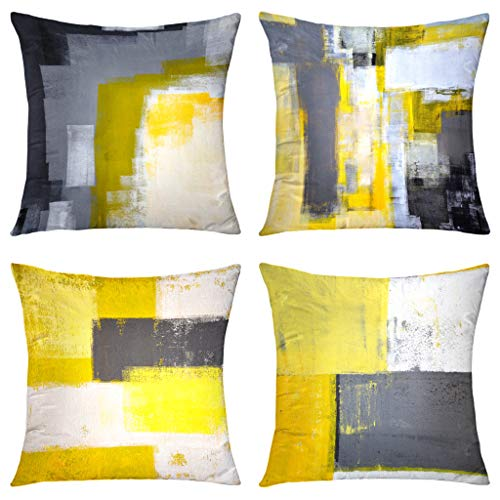 GALMAXS7 Yellow Grey Modern Contemporary Abstract Art Decorative Throw Pillow Covers Soft Velvet Pillow Covers Sofa Pillow Case Square Cushion Covers for Couch Bedroom Living Room 18X18 inch Set of 4