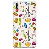 dakanna Funda para [ Bq Aquaris X - X Pro ] de Silicona Flexible, Dibujo Diseño [ Patrón Utensilios Costura y confección ], Color [Fondo Transparente] Carcasa Case Cover de Gel TPU para Smartphone