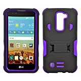 LG K7 Case, Heavy Duty Dual Layer Hybrid Case cover with Build In Kickstand Protective Case cover For LG K7 /Tribute 5 (T-Mobile, Sprint, Metro PCS, Boost Mobile) Black on Purple