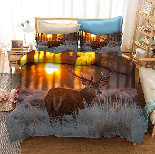 ZPYHJS Sunset Ropa de Cama de Ciervos de Animales Salvajes, Funda de edredón y Funda de Almohada con 3D,Adultos y Adolescentes Textiles para el hogar de Cama Individual/Doble-D_173x218cm (3 pcs)