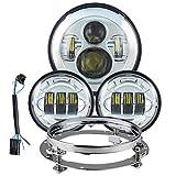 7 Pulgadas llevó la Linterna y 4,5 Pulgadas llevó la luz de Niebla y 7 Pulgadas Faro Soporte Adaptador de Clavija y Juego de Deslizamiento 14-17 (Color : 1 Set Chrome)