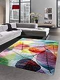 CARPETIA Alfombra Pelo Corto diseño de Hojas Colorido Größe 200 x 290 cm