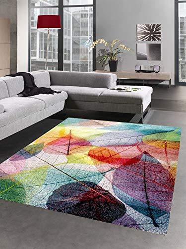 CARPETIA Teppich modern Designerteppich Blätter Laub bunt Größe 120x170 cm