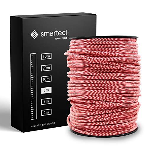 smartect Textilkabel Weiß Rot - 5 Meter Vintage Lampenkabel aus Textil - 3-Adrig (3 x 0.75 mm²) - Stoffummanteltes Stromkabel für DIY Projekt
