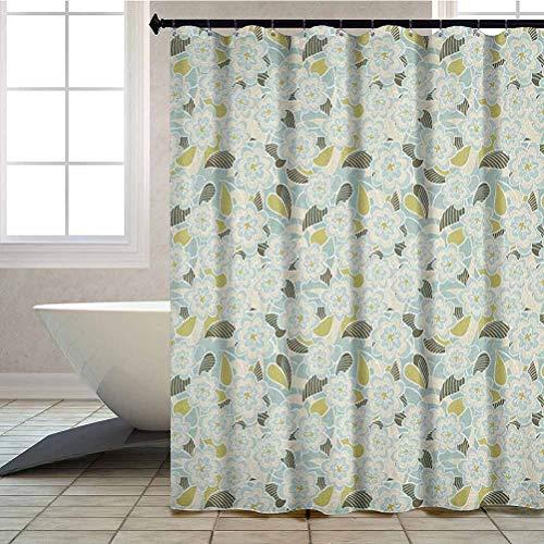 Aishare Store Shower Curtain, Pastel Toned Flower Foliage Eco Flourish Gardening Theme, 72' x 72' Cloth Bath Curtain with 12 Hooks, Baby Blue Pistachio Green