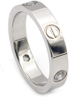 Luxrury Shine Stainless Steel with CZ Stone Gold-Plated Love Ring
