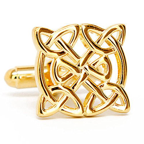 Mens Executive Cufflinks Gold Tone Ornamented Christian Celtic Endless Knot Cuff Links