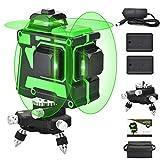 3X360 Línea láser autonivelante, línea cruzada 3D 12 líneas Haz verde 131 pies 2 vertical 1...