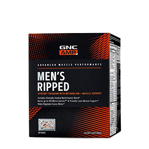 GNC AMP Men's Ripped Vitapak Program, 30 Packs, with Metabolism and Muscle Support
