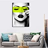 ganlanshu Mujer con Cara Colorida Pintura al óleo en Cartel Moderno para Sala Arte de Pared,Pintura sin Marco,50X75cm