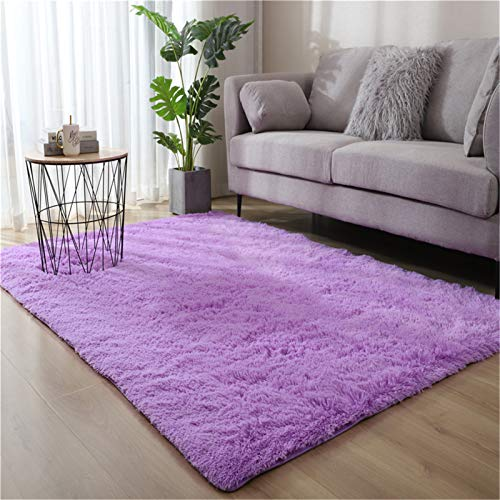 DZYP Alfombra suave y peluda, lavable, suave, cómoda, antideslizante, para sala de estar, dormitorio, decoración de habitación de niños, alfombra (morada, 60 x 120 cm)