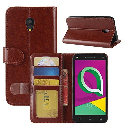 HualuBro Alcatel U5 3G Hülle, Retro Leder Brieftasche Etui Tasche Schutzhülle HandyHülle [Standfunktion] Leather Wallet Flip Hülle Cover für Alcatel U5 3G - Braun