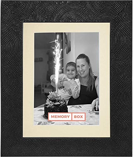 Memory Box Marco negro con marco de color marfil para fotos, fotos y pósteres, tamaño A3 para fotos A4 con soporte