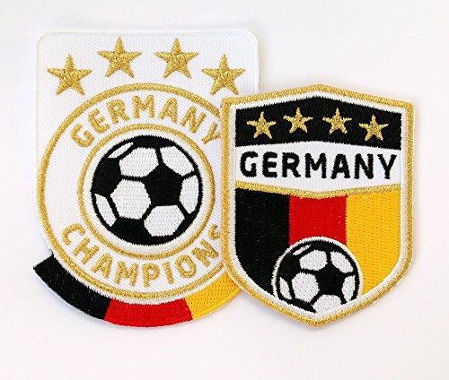 Club of Heroes 2er-Set Germany Fussball Abzeichen gestickt/Deutschland Champions Gold Stickerei Aufbügler Patch Patches Bügelbild für Trikot Dress Sport Kleidung/National Mannschaft Team Welt-Meister