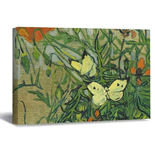 Vincent Van Gogh Butterflies and Poppies Canvas Picture Painting Artwork Wall Art Poto Framed Canvas Prints for Bedroom Living Room Home Decoration, Ready to Hanging 8'x12'