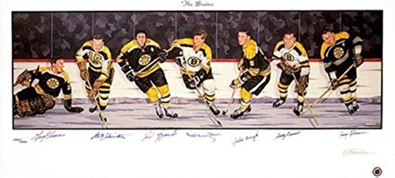Bobby Orr, John Bucyk, Gerry Cheever, Phil Esposito, Fern Flaman, Woody Dumart, Milt Schmidt autographed Boston Bruins Lithograph Poster 18x36