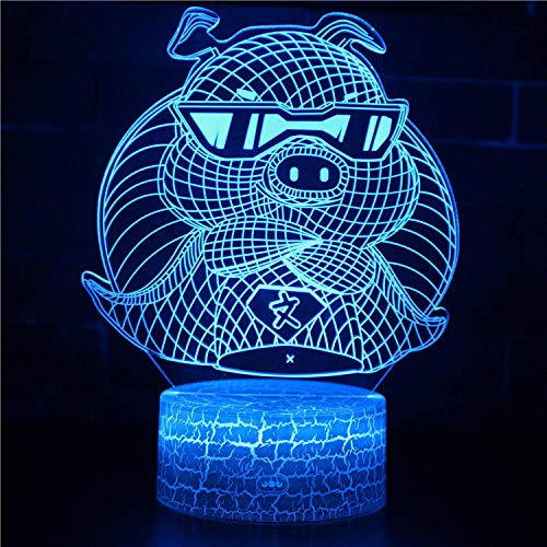 Cute Animal pig-3D Led Night Light Optical Illusion 7 Colors Changing Lamp with Smart Touch Night tlight Lamp for Christmas Gifts Toys Light for Children Kids