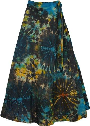 TLB Roma Bohemian Wrap Around Long Skirt - Black Tie Dye L: 37.5