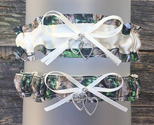 Camouflage Ivory Satin Wedding Bridal Prom Garter Set - Double Heart Charm