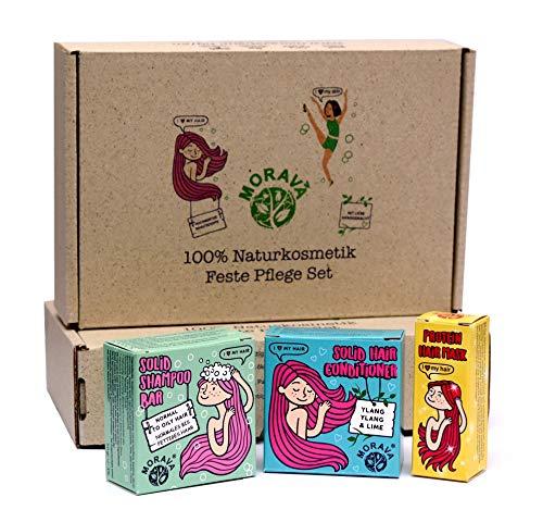 MORAVA Haar Pflege Set - 3x Naturkosmetik Plastikfrei & Sulfatfrei - Festes Shampoo, Fester Conditioner und Feste Haarkur - Vegan, für empfindliche Kopfhaut, wie Haarseife