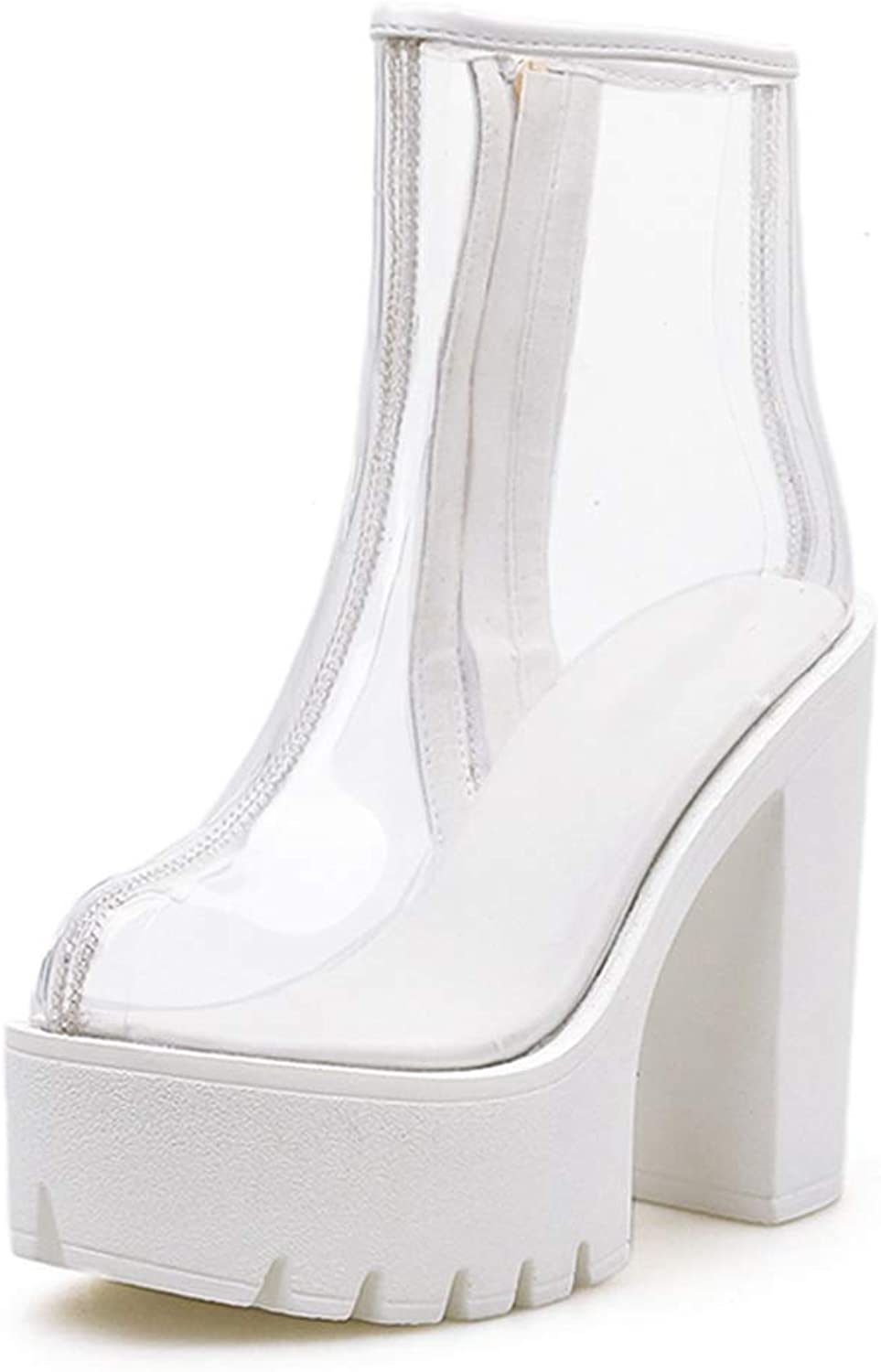 T-JULY White Boots PVC Transparent Boots Women Sexy High Heels Platform Boots Spring Autumn Ladies shoes Ankle Boots