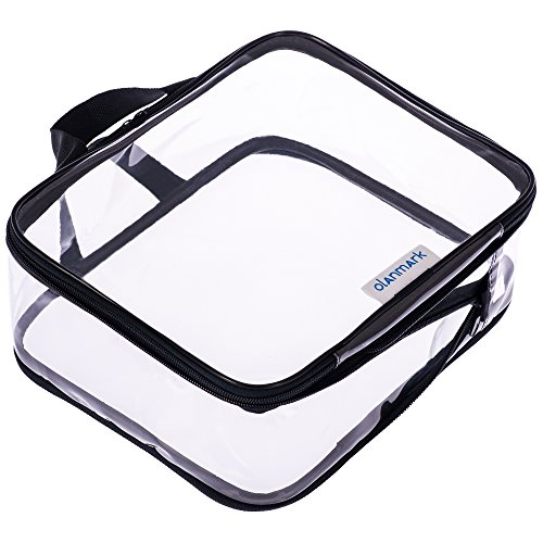 Clear Cosmetic Bag - Compression Packing Cubes - Big Travel Toiletry Bags - Large Transparent Make Up Organizer for Women - PVC Plastic Clear Diaper Bag with Zipper - Waterproof Vinyl Pencil Case