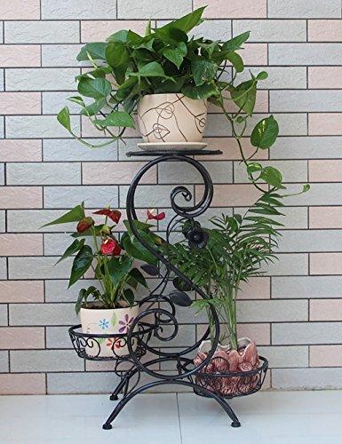 Stand d'usine Étagère de fleurs de style européen à l'intérieur et à l'extérieur plate-forme simple usine / plancher de fer 3-couche Flowerpot Rack Étagère à fleurs à plusieurs niveaux ( Couleur : C , taille : 50cm*24cm*67cm )